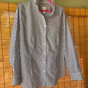 CHICO'S White + Dark Grey Striped Button Up Blouse